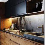 35 Small Kitchen Designs for Kitchen Remodel. Modern kitchen decor with black wo...