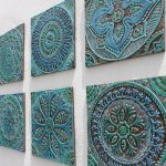 6 decorative tiles 30cm for kitchen backsplash or bathroom,Turquoise ceramic hand painted tiles, wall art for garden,home decor,wall hanging