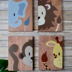Baby Nursery or Children Bedroom wall art decor. Hand painted: Jungle, Noah's Ark, Zoo animals wood sign decoration