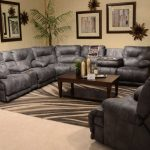 CatNapper Voyager Sectional with Lay Flat 3 Recliner Sofa, Console Loveseat, and Wedge
