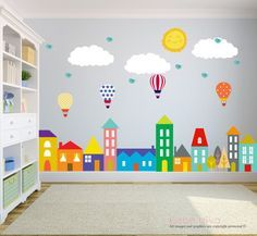 City Wall Decals, Wall Decals Nursery, Nursery Wall Decal, Kids Wall Decal, Wall Decal, Hot Air Balloon Wall Decal, Wall Decal Nursery