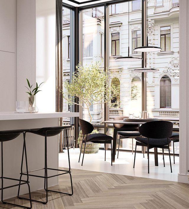 Cuisine à côté d'une grande fenêtre / petite extension avec un coin salon et une table … – Decor Cuisine