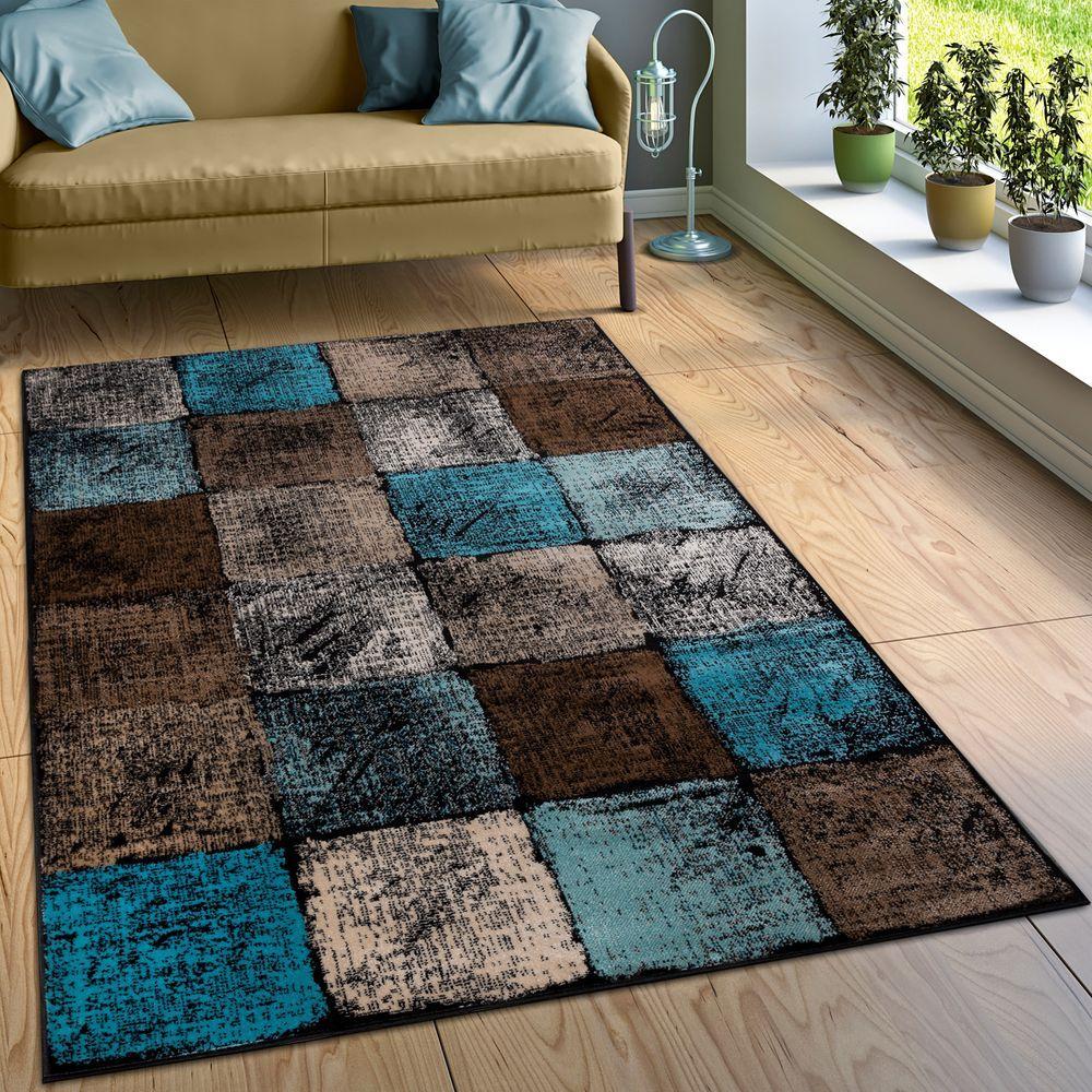 Designer Teppich Wohnzimmer Ausgefallene Farbkombination Karo Türkis Braun Creme Teppiche Kurzflor-Teppiche