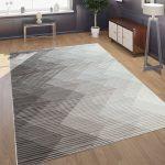 Designer Wohnzimmer Teppich 3D Optik Zick Zack Optik In Grau Creme Beige Teppiche Orient-Optik