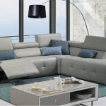 Grey Italian Leather Tufted Sectional with Recliner Mechanism