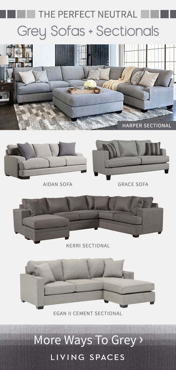 Grey sofas & sectional sofas are the perfect neutral piece for any living room. … – Pinpon