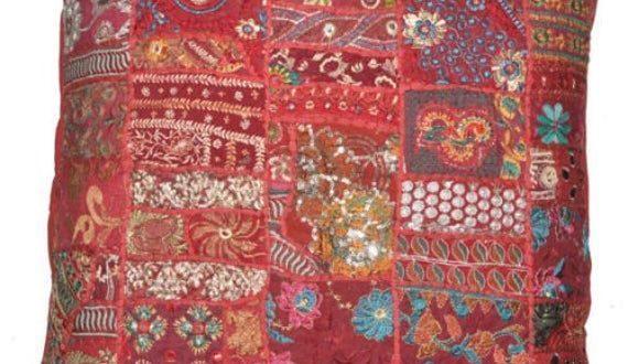 Handgemachte bestickte Kissenbezug indische dekorative ...