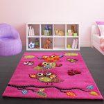 Kids Carpet Cute Owls Modern Children Rug in Pink Fuchsia Green Blue