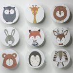 Kleiderhaken, Garderobe für Kinder/Kinderzimmer, Fuchs oder Bär, Löwe, Hase, Tiger, Eule, Igel, Giraffe, Hirsch (Kein Set)