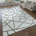 Kurzflor Wohnzimmer Teppich Geometrische Muster Modern Beige Creme Teppiche Kurzflor-Teppiche