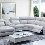 Leather sectional sofa with recliner saffron modern leather sectional sofa - Elites Home Decor