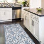 Linoleum rug, with printed blue Kilim pattern. Art Mat - printed PVC carpets, Vinyl floor mats,