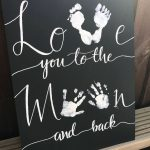 Love you to the moon and back sign, New Baby Gift, Baby Hand Prints, Nursery Decor, Nursery Wall Decor, Nursery Print, Baby Shower Gift - Baby Wear