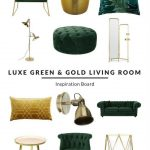 Luxe Green and Gold Living Room - Furnishfuls Living Room Ideas - Inspiration Bo...