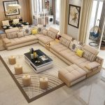 Luxury Modern U Shaped Leather Fabric Corner Sectional Sofa Set Design Couches For Living Room With Ottoman - worldefashion.com/decoration