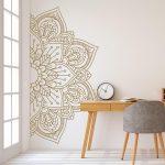 Mandala en demi mur autocollant, Stickers muraux, de décor pour la maison, Studio, amovible en vinyle autocollant pour la méditation, Yoga Wall Art #11