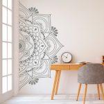 Mandala en demi mur autocollant, Stickers muraux, décor pour la maison, Studio, amovible en vinyle autocollant pour la méditation, Yoga Wall Art #9