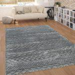Moderner Kurzflor Wohnzimmer Teppich Zickzack-Muster Hoch-Tief-Struktur In Grau Teppiche Kurzflor-Teppiche