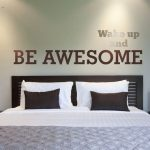 Motivational Wall Decal, Wake Up and Be Awesome Decal, Modern Nursery Decor, Inspirational Wall Quote, Motivational Dorm Decor, Typography