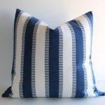 Preppy Blue White Pillow / Sporty pillow cover / Beach Throw Pillow / Man Cave Pillow Cover -LKN2