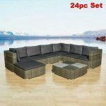 Rattan Garden Sofa Set Grey Corner Seat Outdoor Sectional Patio Lounge Furniture...
