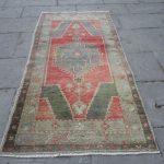 Roter türkischer Teppich, niedriger Teppich, Wohnzimmer Teppich 5 '4' 'x 2' 8 '' Ft, Wolle Tribal Teppich, handgemachte aztekische böhmische Teppich, blasse Teppich, Geschenk Teppich