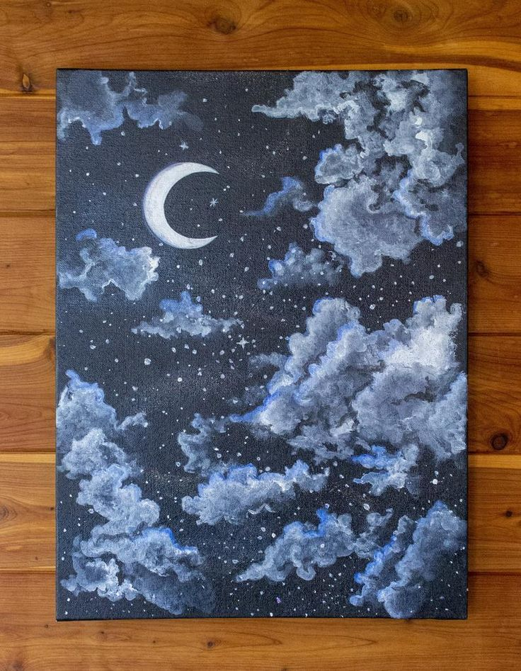 Serene Night Sky – Starry and Cloudy Moon Painting – Acrylic Painting – Bedroom Wall Art – Nursery Decor – 12X16 Unframed – Scenic Art | My Painting Blog