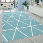 Skandi Teppich Wohnzimmer Blau Weiß Rauten Design Weich Pastellfarben Kurzflor  Teppiche Kurzflor-Teppiche