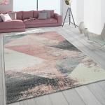 Teppich Wohnzimmer Grau Weiß Rosa Pastell Dreieck Muster Vintage Design Kurzflor Teppiche Kurzflor-Teppiche