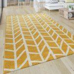 Teppich Wohnzimmer Muster Geometrisch Modern Kurzflor Streifen In Gelb Weiß Teppiche Kurzflor-Teppiche