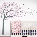 Tree Wall Decal Nursery Large Tree Wall Decals Personalized Names And Birds Whimsical Cherry Blossom Tree Wall Decals Decor Wall Art Sticker