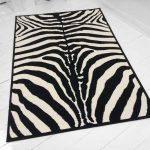 Zebra-Teppich Designer-Teppich Zebra schwarz-creme Fell Afrika Teppich Skin NEU ...