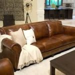 brown leather couch and fur pillow ideas - Google Search