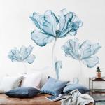 elegant blue big flower wall decals living room girls well decor romantic floral wall art prints vinyl wall stickers peel and stick bedroom
