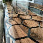 honeycomb live edge resin table