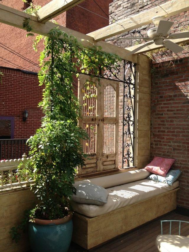 terrasse balkon-sichtschutz metall-gitter stütze für kletternde planzen #balko…