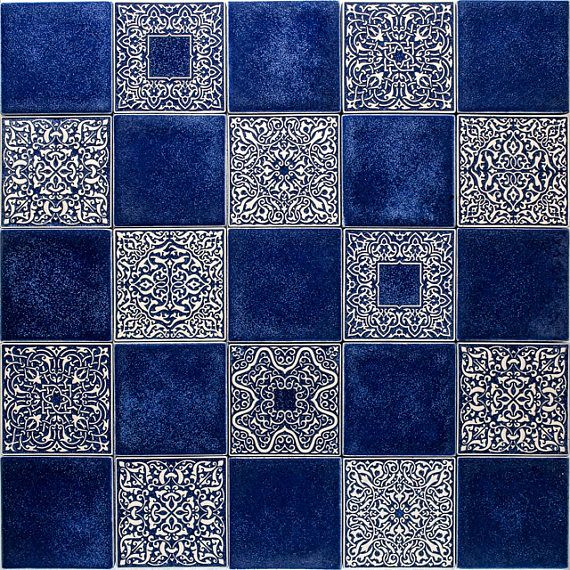 tiles with ornament and smooth , blue
