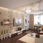 walnut floor, stone cladding wall and soft color palette