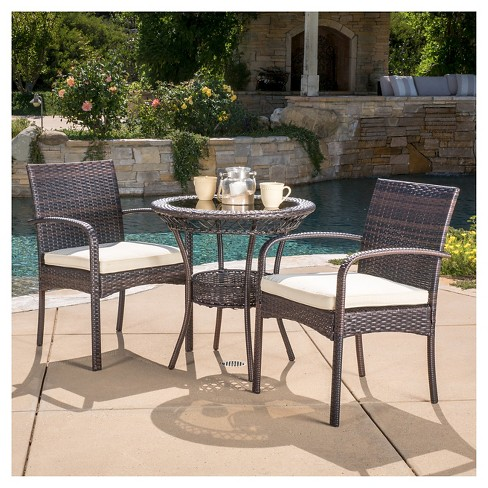 Ridley 3-piece Wicker Patio Bistro Set With Cushions - Brown .