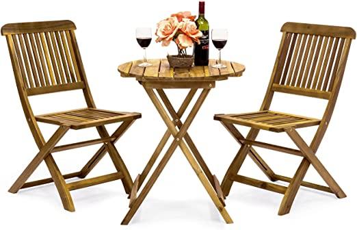 Amazon.com: Best Choice Products 3-Piece Folding Acacia Wood Patio .