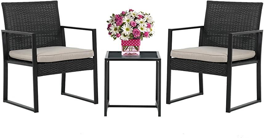 Amazon.com: Wicker Patio Furniture 3 Piece Patio Set Chairs Bistro .