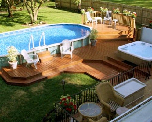 Beautiful deck with Above Ground Pool and Spa!! | Backyard pool .