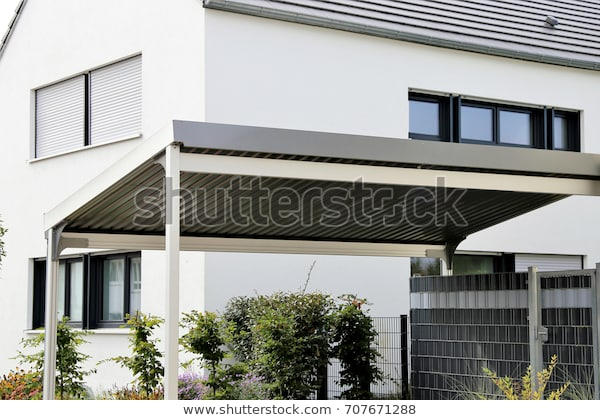 Aluminium Carport On Residential Home Stock Photo (Edit Now) 7076712