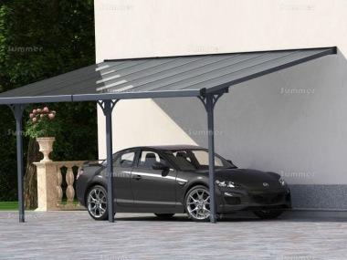 Aluminium Carport 372 - Adjustable Height, Polycarbonate Ro