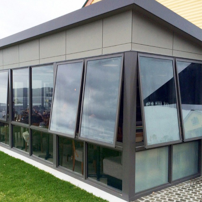 Aluminium awning top hung windows with double tempered glazi