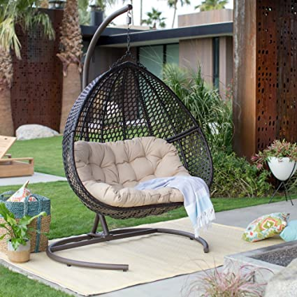 Amazon.com : Resin Wicker Hanging Egg Loveseat Swing Chair, Indoor .