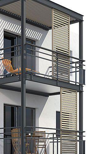 modern balcony design with sliding shades | Façade maison moderne .