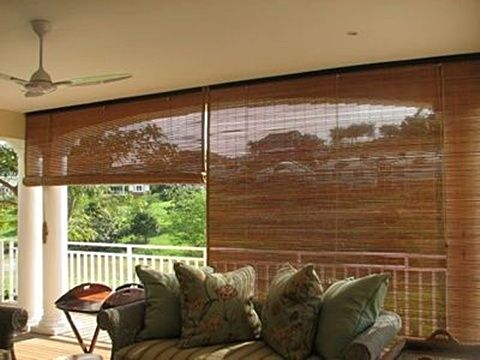 OUTDOOR BLINDS Exterior blinds are available in Laguna Bamboo .
