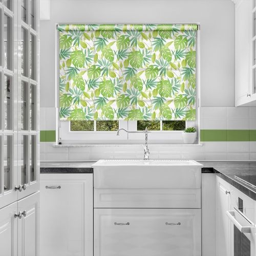 Amble Green Funky Leaf Roller Blind | Kitchen blinds red, White .