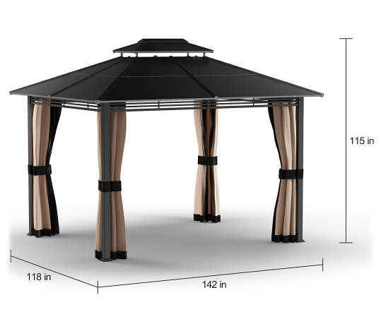 Lakewood Hard Top Gazebo, (10' x 12') | Big Lo